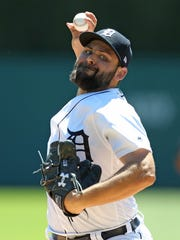Michael Fulmer pitches during the third inning of the Tigers' 3-0 loss Sunday.