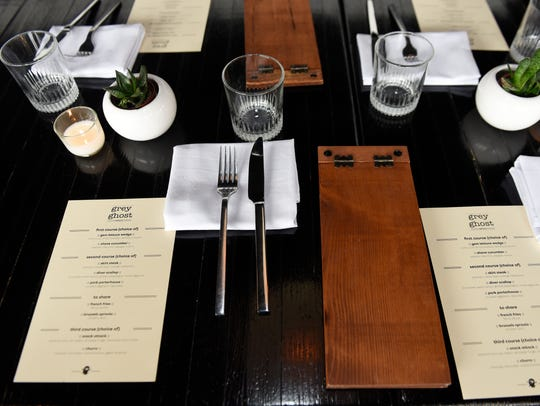 A tabletop at the Grey Ghost restaurant.