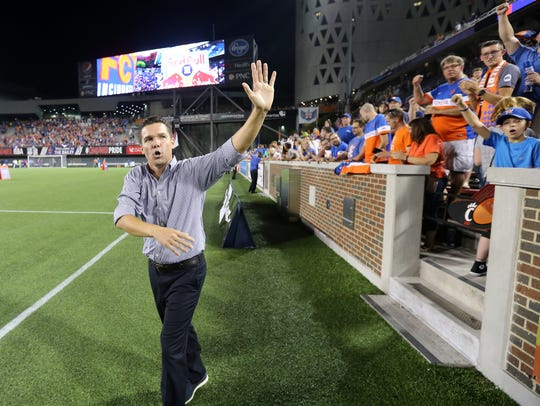 FC Cincinnati head coach Alan Koch thanks the crowd