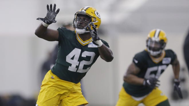 Oren Burks (42) is shown during Green Bay Packers rookie camp Friday, May 4, 2018, at the Don Hutson Center.