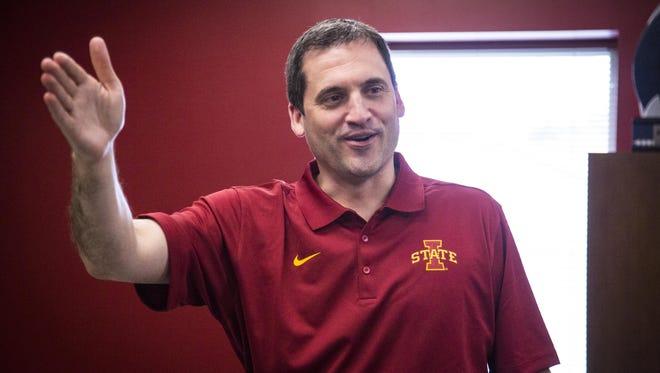 Iowa State University head men's basketball coach Steve Prohm in his office Wednesday June 24, 2015, in Ames, Iowa.