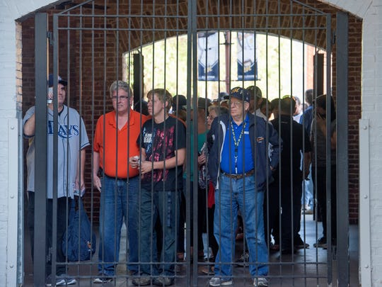 Fans wait for the gates to open for the Montgomery