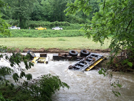 A dump truck pushed into the Catawba River by a mudslide
