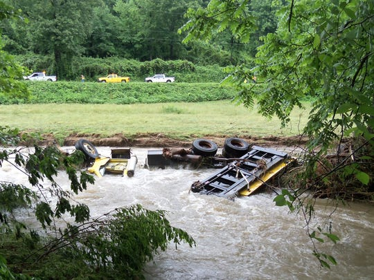 A dump truck pushed into the Catawba River by a mudslide ended up more than 1,000 feet downstream, the state Department of Transportation says.