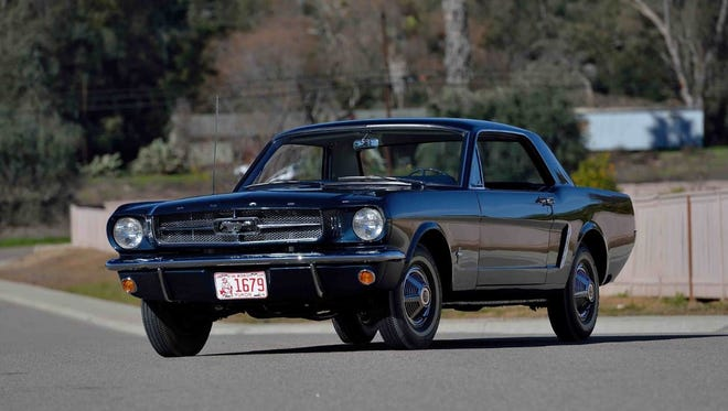 A 1965 Ford Mustang recognized as the first Mustang hardtop to receive a VIN will be auctioned off in Indianapolis.