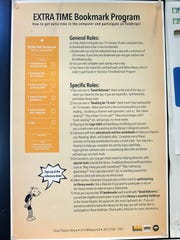 A flyer posted at the César Chávez Library in Salinas explaining how the bookmark program works.
