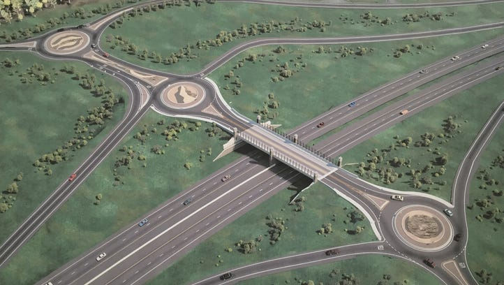 This picture of a rendering showing what the Eight Mile Road overpass over U.S. 23 will look like after it is reconstructed.