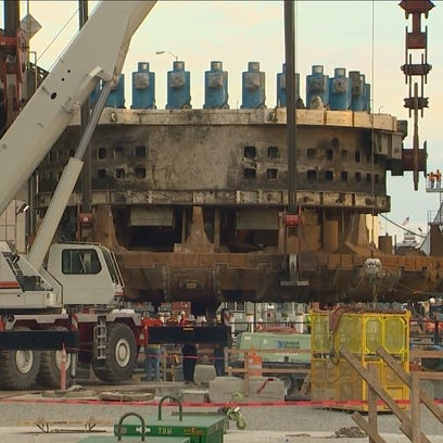 Bertha cutter head removed from pit.