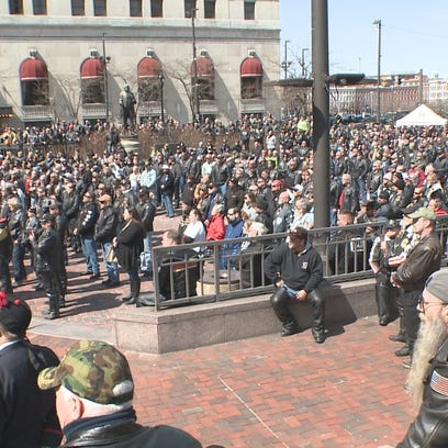 People gathered in downtown Cleveland