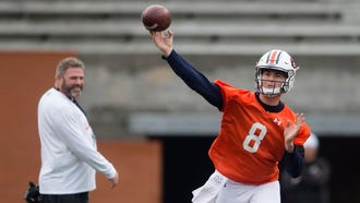 Auburn quarterback Jarrett Stidham (8) throws a pass during the Auburn A-Day game on Saturday, April 7, 2018, in Auburn, Ala.