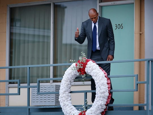 """Anfernee """"Penny"""" Hardaway walks the balcony at the Lorraine Motel during a tour of the National Civil Rights Museum Jan. 14, 2018. Hardaway is among this year's Legacy Award honorees alongside Sam Perkins, James Worthy and Swin Cash."""