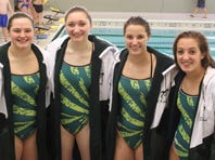 The James Buchanan girls 200 medley relay team, from left to right, Annabelle McCullough, Annaleisse Hissong, Rachel Kimmel, & Sarah Kimmel. As of Tuesday Jan. 24, the girls 200 medley remained undefeated, and has a shot at making it to the district podium.