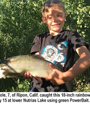 Liam Whole caught this 18-inch rainbow trout July 15 at lower Nutrias Lake.