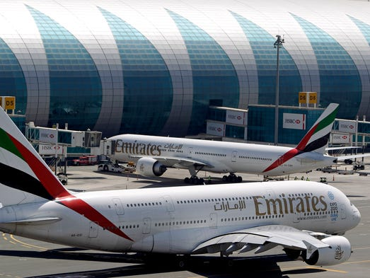 Emirates planes at the Dubai airport in United Arab Emirates on May 8, 2014.