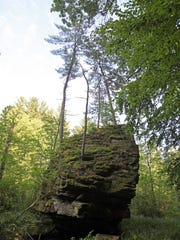 Rock formations are a highlight of Rocky Arbor State Park north of Wisconsin Dells.