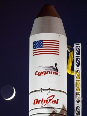 The Cygnus cargo ship on Oct. 28 before it exploded after launching.