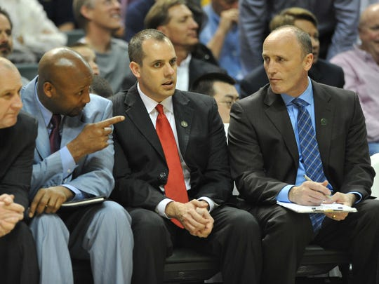 Indiana Pacers coaching staff on the bench in the third quarter. From left, Jim Boylen, Brian Shaw, Frank Vogel and Dan Burke. As the Pacers let Cleveland get a 20-point lead, Vogel got ejected from the game and Brian Shaw took over, as the Pacers came back to defeat the Cleveland Cavaliers 99-94 at Bankers Life Fieldhouse Tuesday April 9, 2013.