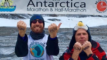 (Left to right) Jason F. Boschan and good friend Alex Turoff set their sights on running the 2016 Antarctica Marathon, where winds got as high as 40 mph.