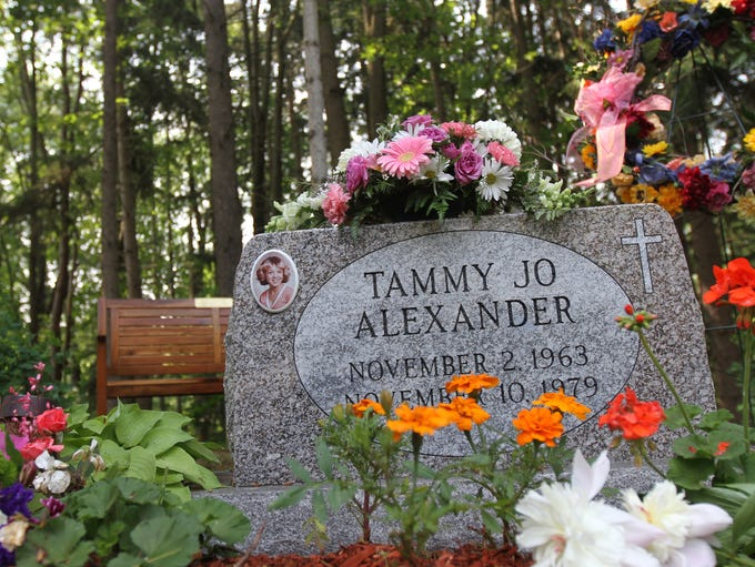 The new grave stone with Tammy Jo Alexander's name