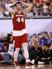 Wisconsin Badgers forward Frank Kaminsky (44) reacts
