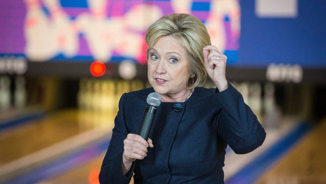 Democratic presidential candidate Hillary Clinton makes a campaign stop at the Adel, Iowa,  Family Fun Center Jan. 27, 2016.