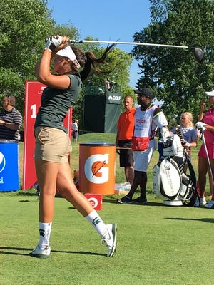 Brighton's Allyson Geer, the two-time defending champion, tied for sixth after stroke play at the Michigan Women's Amateur Championship at Saginaw Country Club.