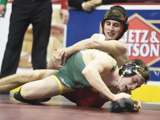 Annville-Cleona 138-pounder Josh Renninger battled but lost to Creighton Edsell of Wyalusing in the first round of the PIAA  Class AA Wrestling Championships on Thursday. Renninger remains alive in the consolation bracket.