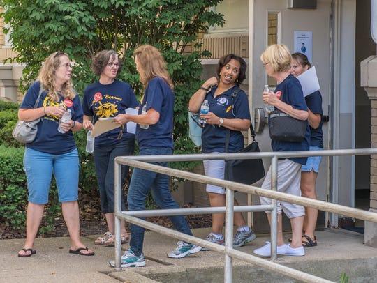 Battle Creek Public Schools staff head out to walk