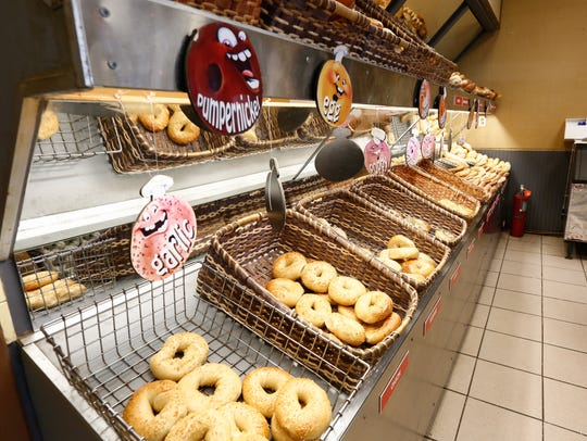 The bagel selection at Goldberg's Famous Bagels in