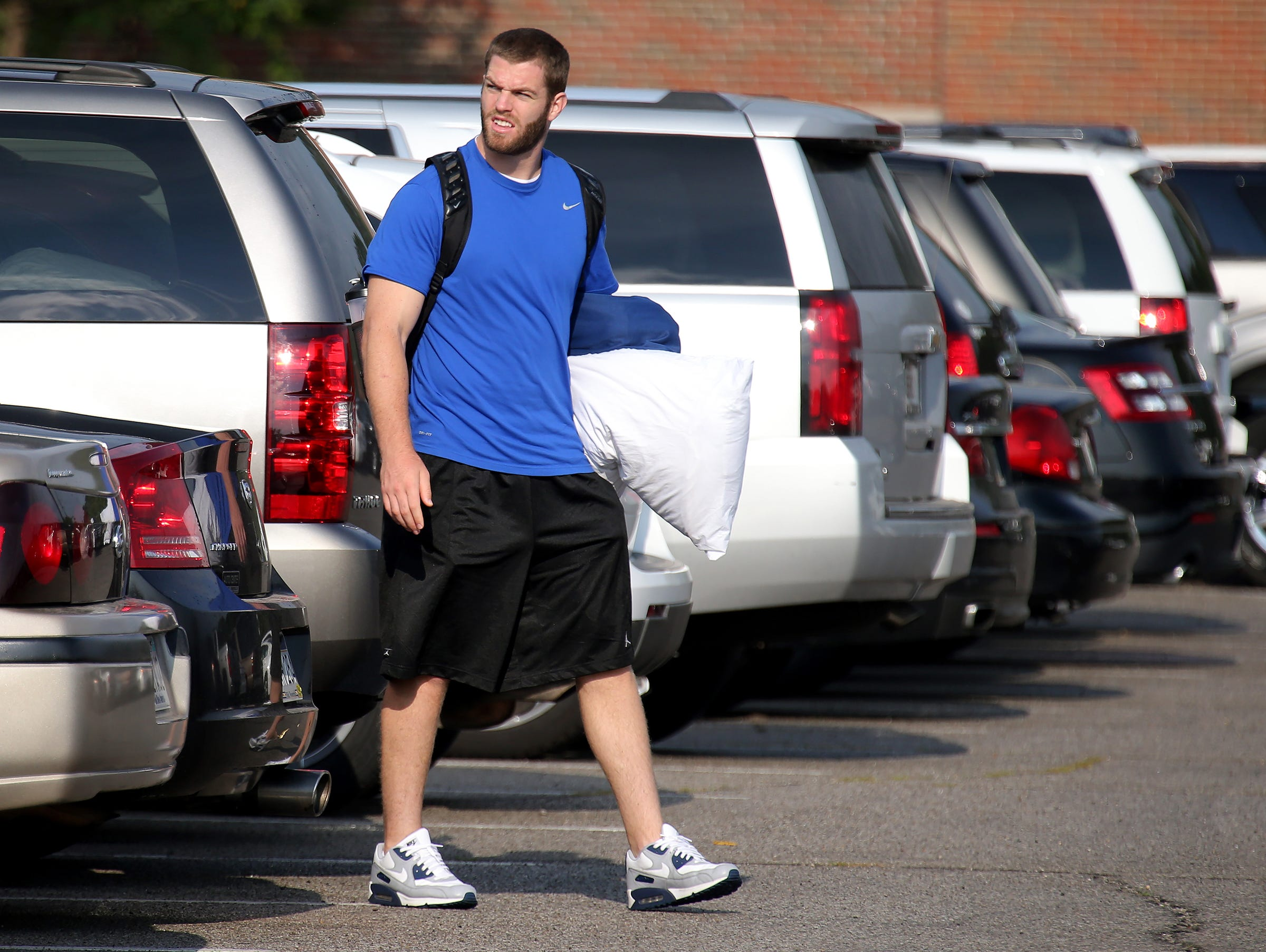 Indianapolis Colts tight end Jack Doyle arrives on the first day of training camp, on Wednesday, July 23, 2014, at Anderson University.