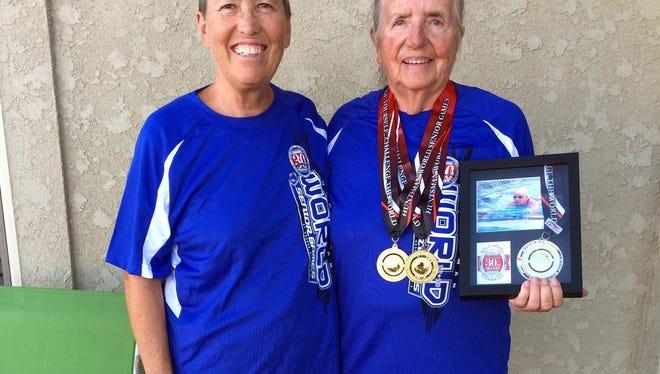 Pamela Gulbrandson, left and Yenny van Dinter bring home medals and memories from the Huntsman World Senior Games in St. George, Utah.