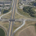 The Interstate 25 junction at U.S. Highway 34 in Loveland is seen in this August file photo. Various efforts are focused on widening the interstate to three lanes in each direction between Fort Collins and Longmont before 2075.