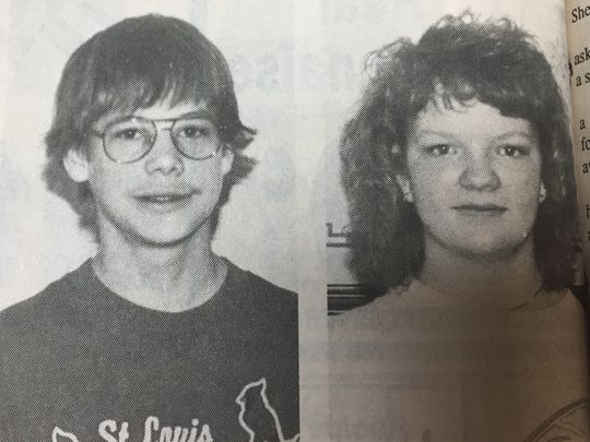 Heath Hunter and Kendra Lovell were named Union County Middle School's students of the month in March 1990.