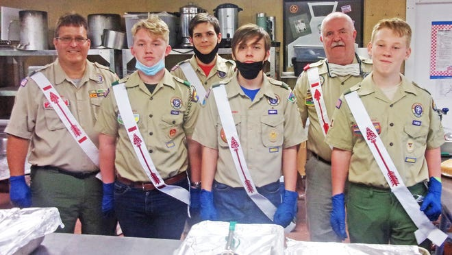 The Troop 392 crew at Ordeal (left to right): Tracy Waller, Jackson Thompson, Hunter Burnett, Andrew Waller, Drayton Gantt, and Logan Thompson. Not pictured: John Depew and Nicholas Waller.