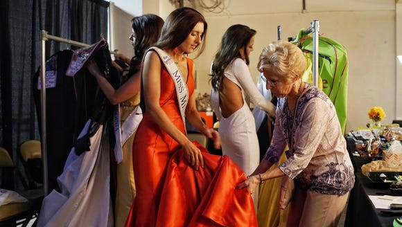 Miss Missouri Erin O'Flaherty, 23, at a dress fitting