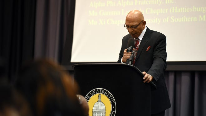 The Rev. Franklin Browne of Antioch Baptist church says a prayer Monday during the 10th annual Rev. Dr. Martin Luther King Jr. Prayer Breakfast at the University of Southern Mississippi.