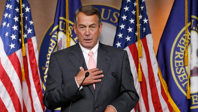 In this Sept. 25 photo, House Speaker John Boehner announces on Capitol Hill that he will resign from Congress at the end of October.