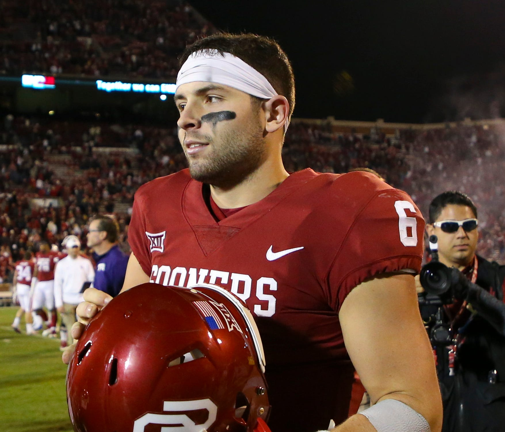 Oklahoma Sooners quarterback Baker Mayfield (6) after the game against the TCU Horned Frogs at Gaylord Family - Oklahoma Memorial Stadium.