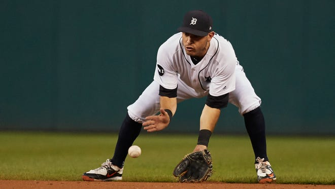 Sep 21, 2017; Detroit, MI, USA; Tigers second baseman Ian Kinsler fields a ball against the Twins in the second inning at Comerica Park.