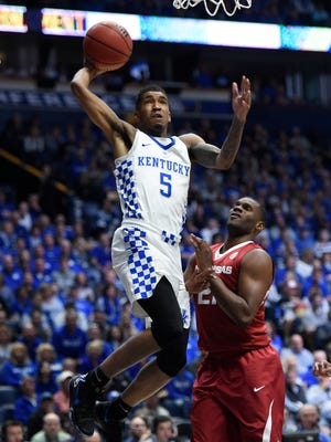Kentucky guard Malik Monk (5) dunks in the second half of the championship game in the 2017 SEC Men's Basketball Tournament at Bridgestone Arena Sunday, March 12, 2017 in Nashville, Tenn.