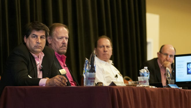 The sharks of Aggie Shark Tank — Dino Cervantes of Cervantes Enterprise, left, along with real estate developer Mickey Clute, Royal Jones of Mesilla Valley Trucking, and Lou Sisbarro of Sisbarro Dealerships, listen to startup contestant pitch his idea in October 2016. No matter where the business is in its life cycle, the entrepreneur has a lot at stake, as do his investors and employees.