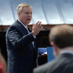 In this June 1, 2015 photo, Lindsey Graham announces his presidential campaign in his hometown of Central.