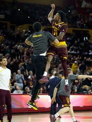 Arizona State guard Shannon Evans II (11) in the first half against Vanderbilt on Sunday.