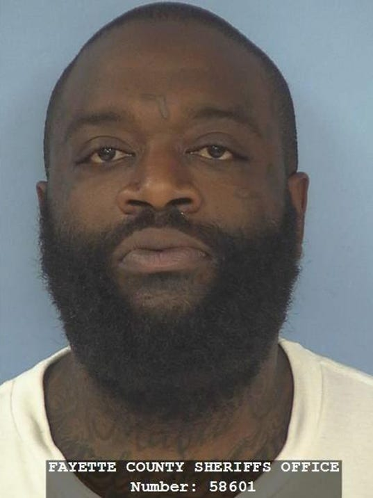 Rapper Rick Ross arrested for marijuana possession in Fayette County, Georgia, USA.