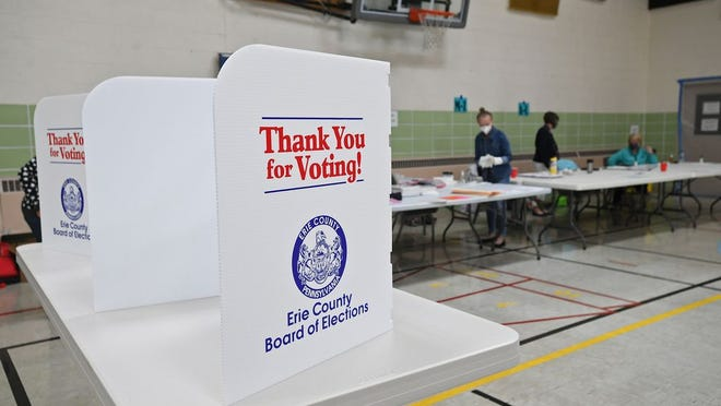 Privacy screens are set up for voters filling out paper ballots in the primary election, June 2, 2020, at the Millcreek Township 23rd District polling place at First Alliance Church, 2939 Zimmerly Road. The latest report from Engagious/Schlesinger Group finds President Trump losing support for the first time since the Erie group was formed 16 months ago.