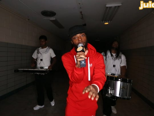 Des Moines rapper MarKaus performed with the Isisirettes Drill  & Drum Corp Saturday, March 4, 2017, for the latest Juice Side Sessions music series.