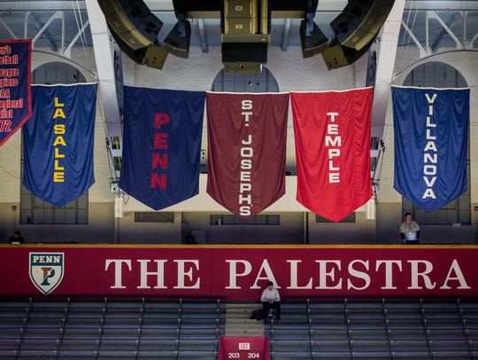 Banners of the Philadelphia Big 5 hang in the rafters