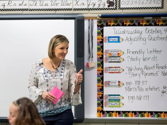 Angie Wright leads a social studies lesson about Marco Polo with her Fifth grade class at Sharon Elementary School in Newburgh. Wright has been teaching at Sharon Elementary School for seven years.