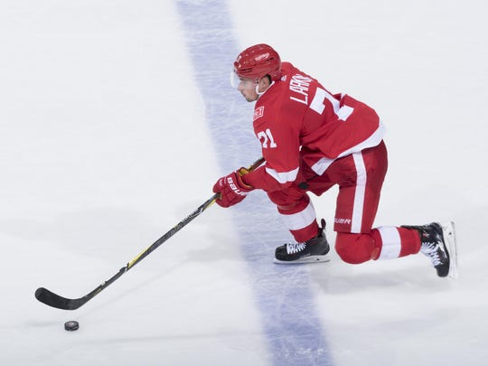 Dylan Larkin, above, and Andreas Athanasiou have established chemistry and created chances at top speed.