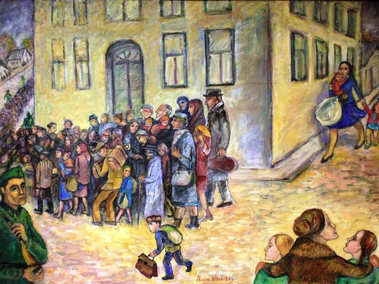 """Hell's Threshold,"" painted by Nadia Werbitzky depicts her mother and sisters witnessing the round up of 7,500 Jewish people from their Russian town, Mariupol, in October 1941."